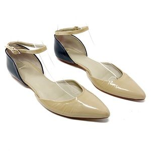 Boden beige/navy d'orsay pointed leather flats